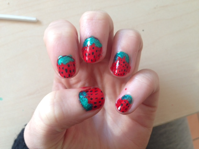 Strawberry nails nail art design easy strawberry nails nail art design prinsesfo Images