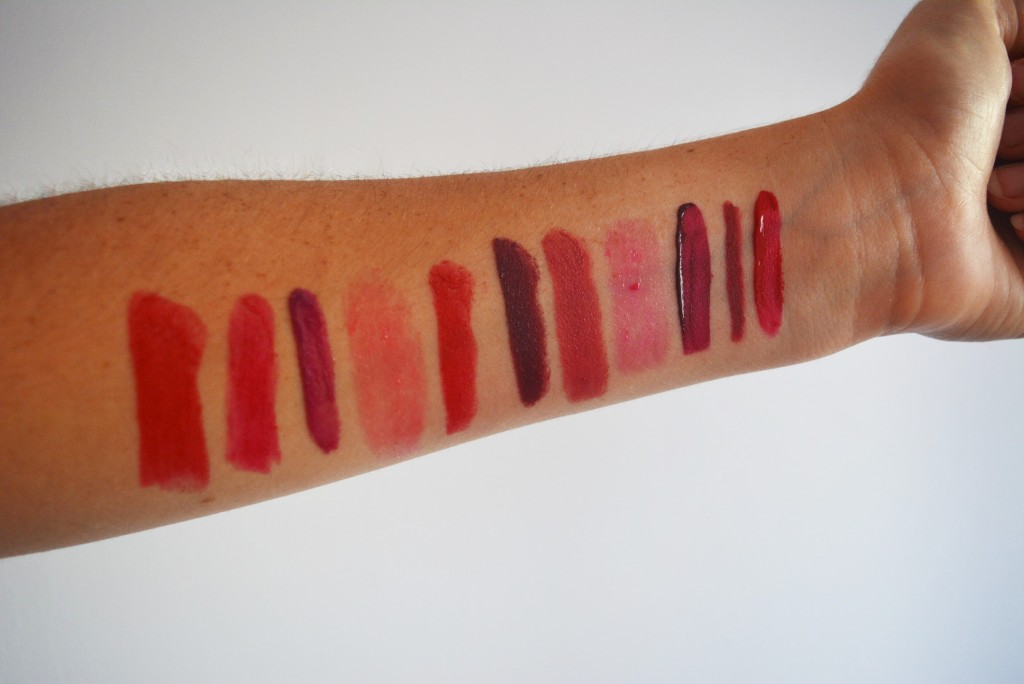 my red lipstick collection swatched