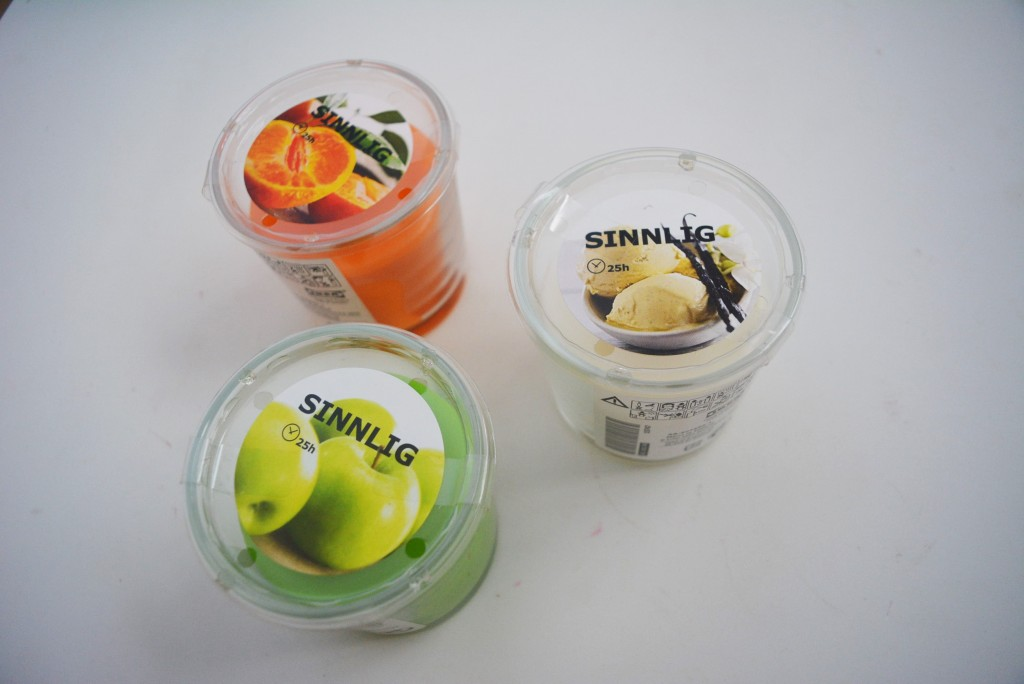 ice cream, orange and apple candles from IKEA